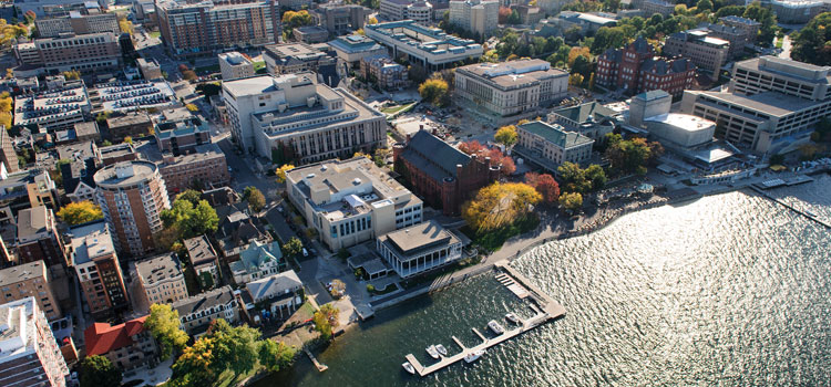 Aerial shot of Madison
