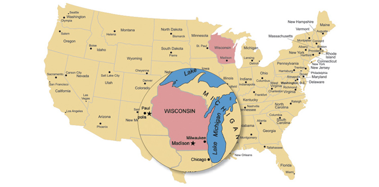Graphic of map of the United States, with Wisconsin magnified.